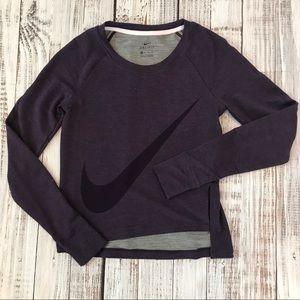 Nike Asymmetric Purple Crew Sweatshirt.
